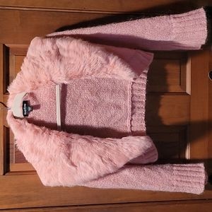 Bebe rose blush faux fur collared glitter knit shrug